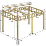 Pergola drawing with dimensions