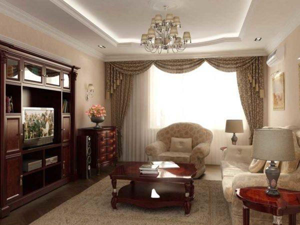 Интерьер зала в квартире обои мебель фото