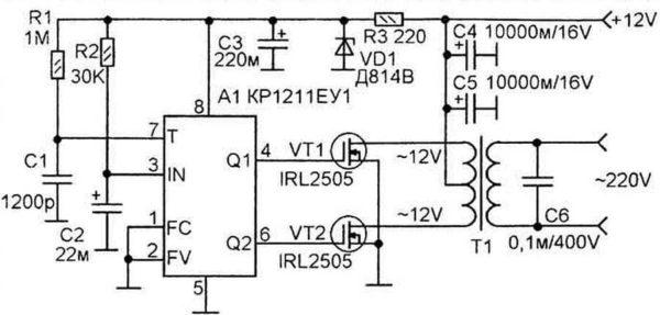 Сондай-ақ, диаграммада жоғары қуат транзисторлары бар - IRL2505 (VT1 және VT2). Олардың ашық шығу арнасының өте төмен төзімділігі бар - 0,008 Ом, оны механикалық кілттің тұрақтылығымен салыстыруға болады. Рұқсат етілетін тұрақты ток - 104 A, импульстің 104-ке дейін, импульстің 360-қа дейін. Осындай сипаттамалары 220 В-ге дейін, 400 Вт-қа дейін. Транзисторларды орнату радиаторлар үшін қажет (қуатымен 200 Вт-қа дейін, ол оларсыз болуы мүмкін).