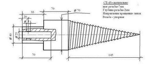 Чертеж с размерами конуса с резьбой для винтового дровокола