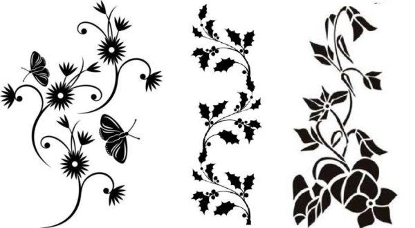 Линейные или бордюрные трафареты, вытянутые вверх композиции - все на основе растительных мотивов