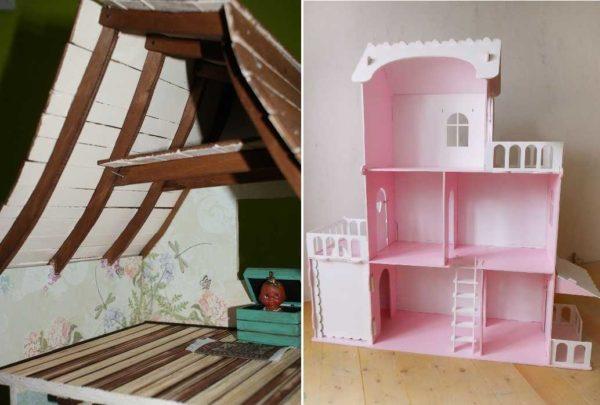 Bir kukla evindeki çatı, farklı şekillerde yapılabilir farklı şekillerde yapılabilir.