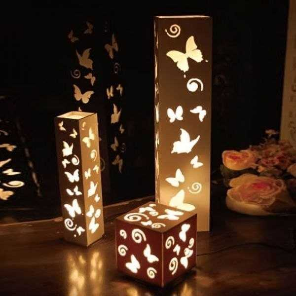 در پلاستیک نازک برای انجام حفره های فرفری - لامپ زیبا برای نور شب آماده. خسته شدن - شما می توانید یکی دیگر را انجام دهید