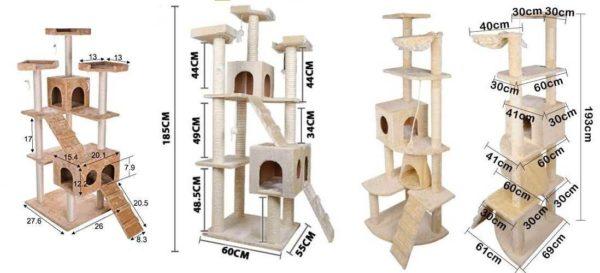 Três versões de cantos felinos com dimensões