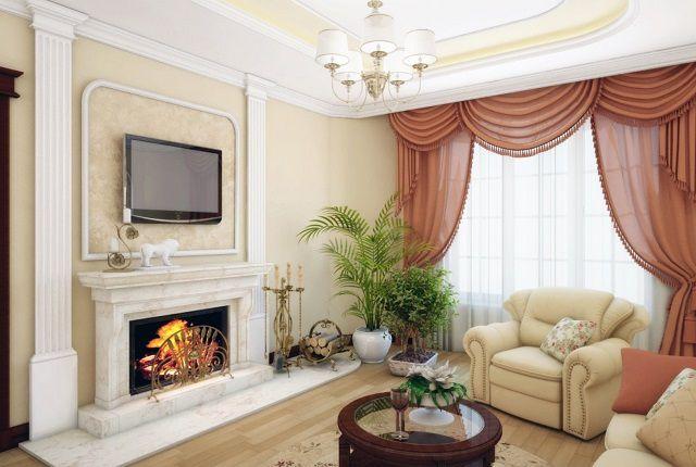 I stuen er der normalt rolige farver, forvitret i en bestemt stil.