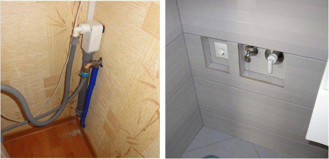 Обустроенные узлы подключения посудомоечной или стиральной машины – открытого и скрытого типа