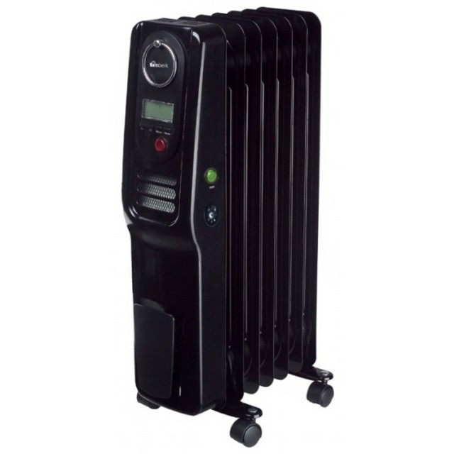 Moderni malli öljynlämmittimestä, joka on varustettu elektronisella termostaatilla, digitaalisella näytöllä ja sisäänrakennetulla tuulettimella