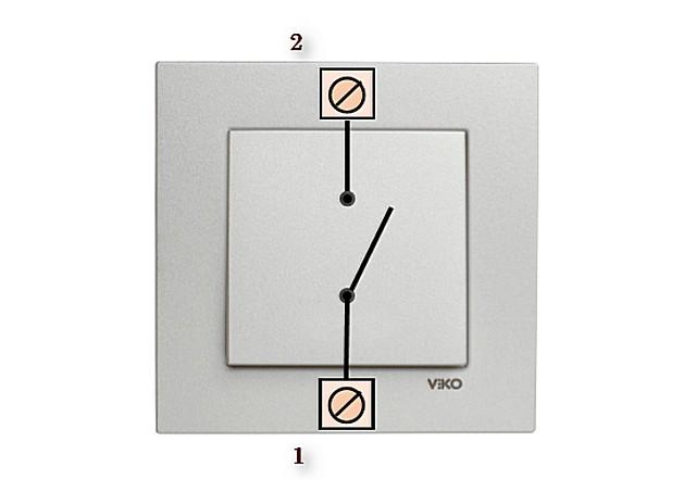 En basit tek blok anahtarı sadece iki terminal temas, giriş ve çıkış