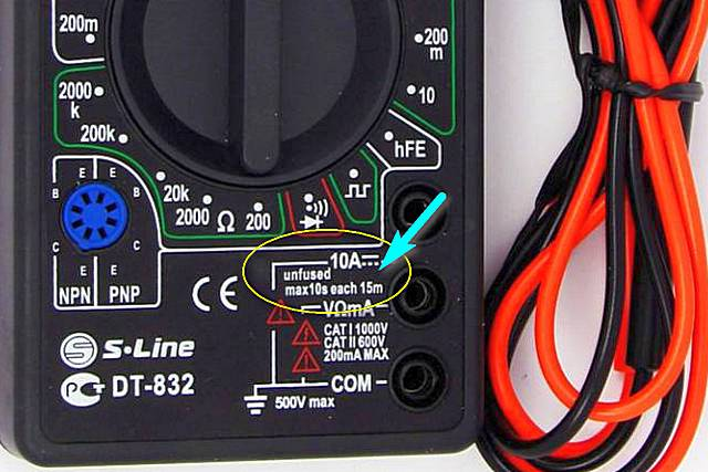 Пример предупреждающей надписи у гнезда подключения провода для замеровна максимально допустимом диапазоне токов