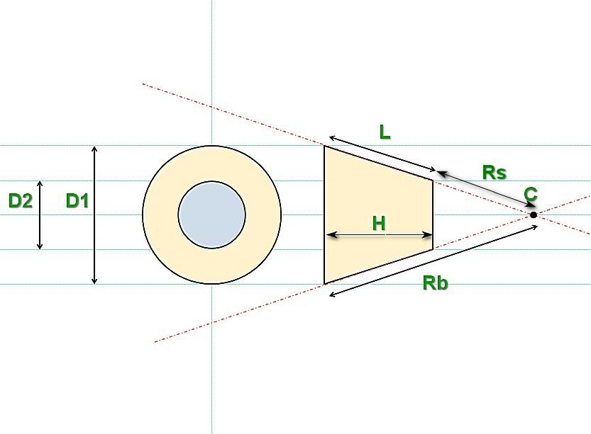 계획 (평면도) 및 가장 잘 알려진 정의 된 매개 변수를 가진 평면 (상위 뷰) 및 측면 투영에서 절단 된 원뿔.