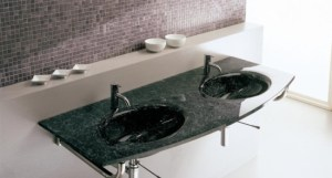 Waschenbecken Glas schwarz marmor optik Badezimmer