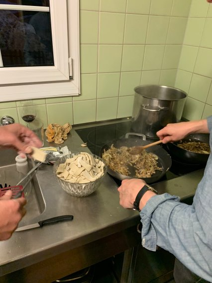 Mmmm pizzoccheri, a buckwheat noodle dish that is mixed with potatoes, cheese and cabbage.