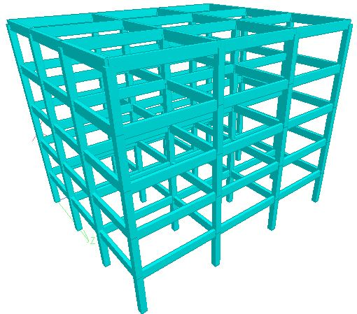 Building frame modelled on Staad Pro