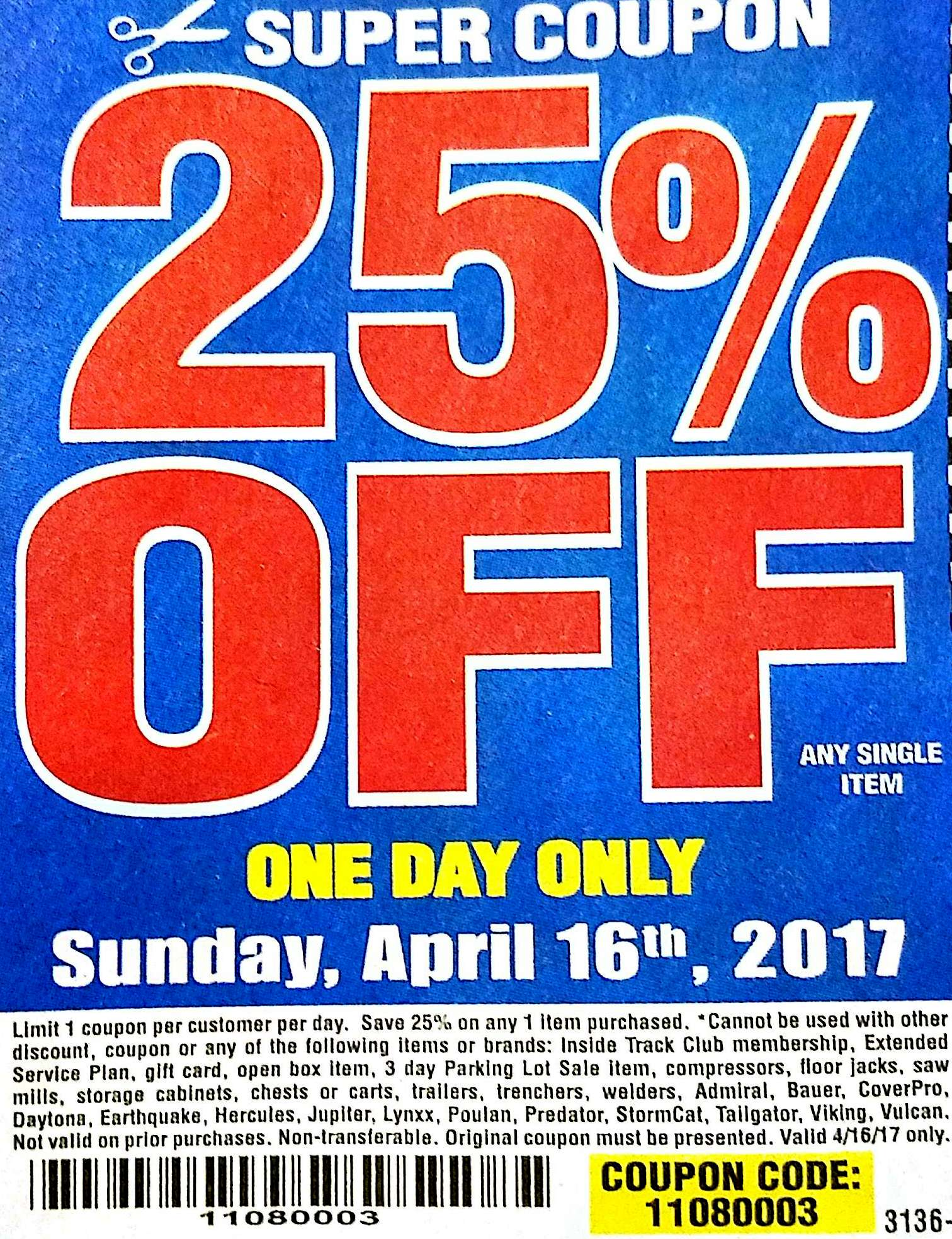 Harbor Freight 25 Off Coupon One Day Only Struggleville