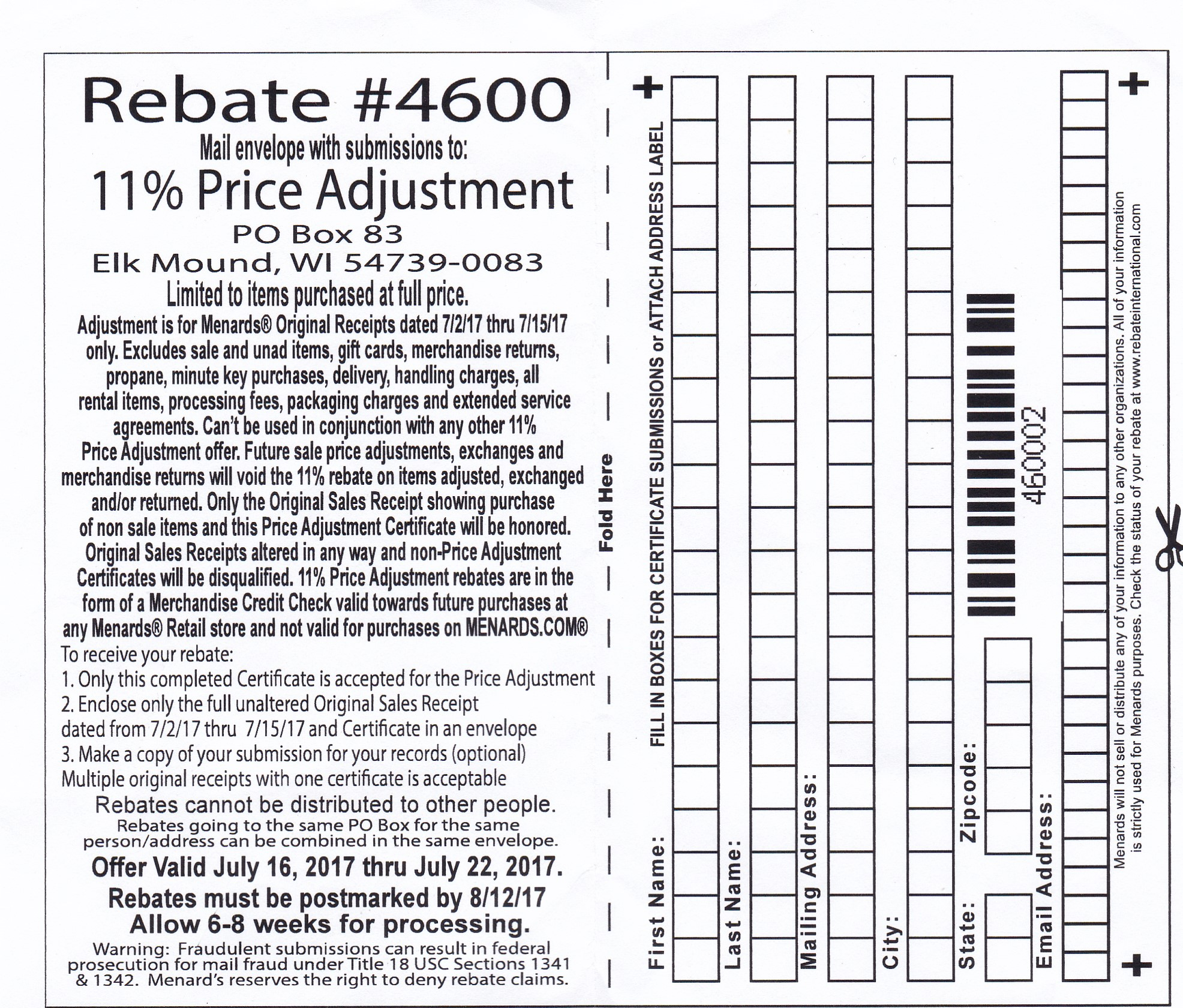 image relating to Menard Printable Coupons known as Menards 11% Value Adjustment Rebate Struggleville