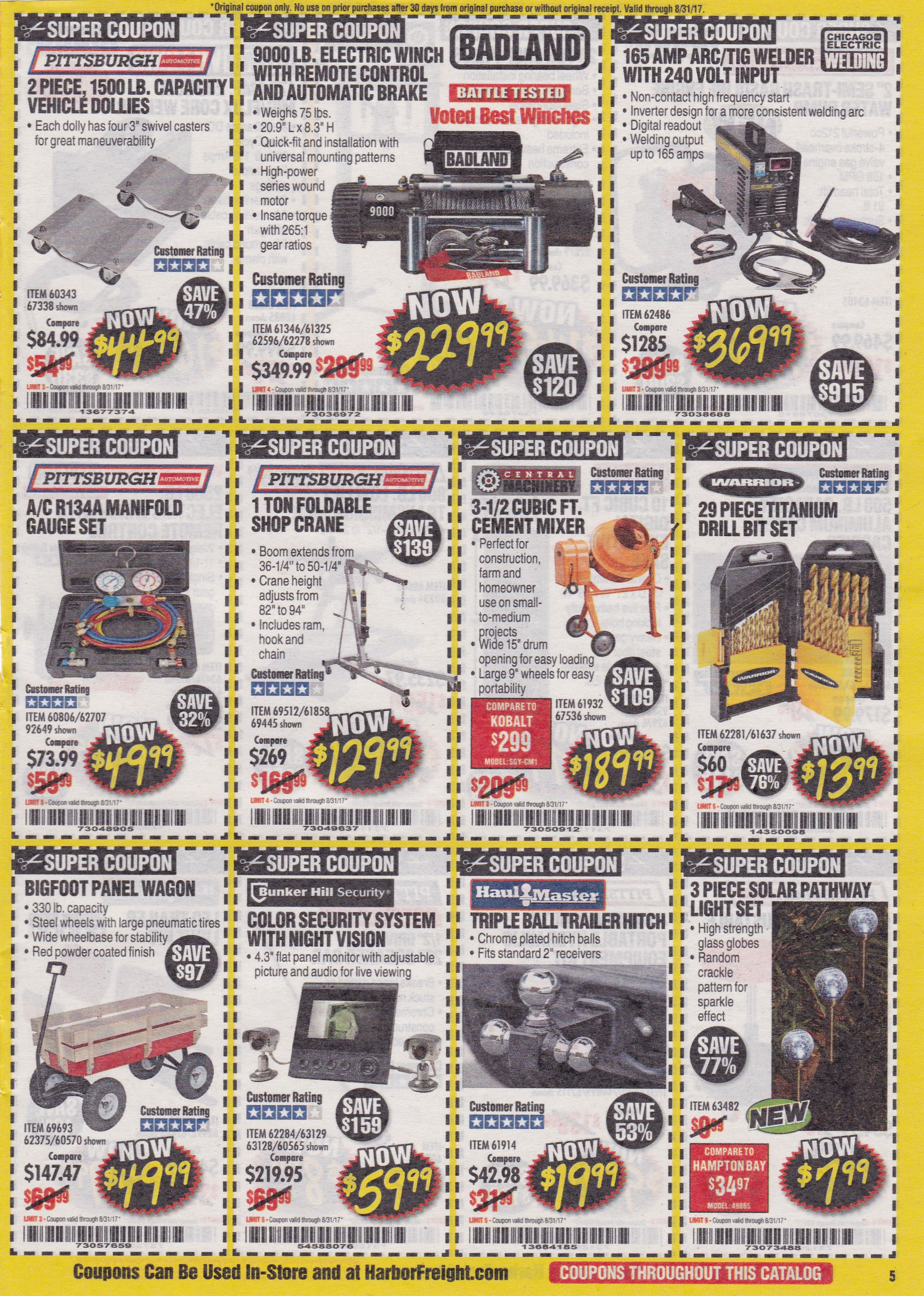 monthly harbor freight super coupons expiring 8/31/17