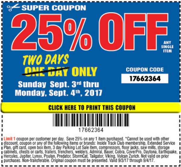 Harbor Freight 25% Off Coupon