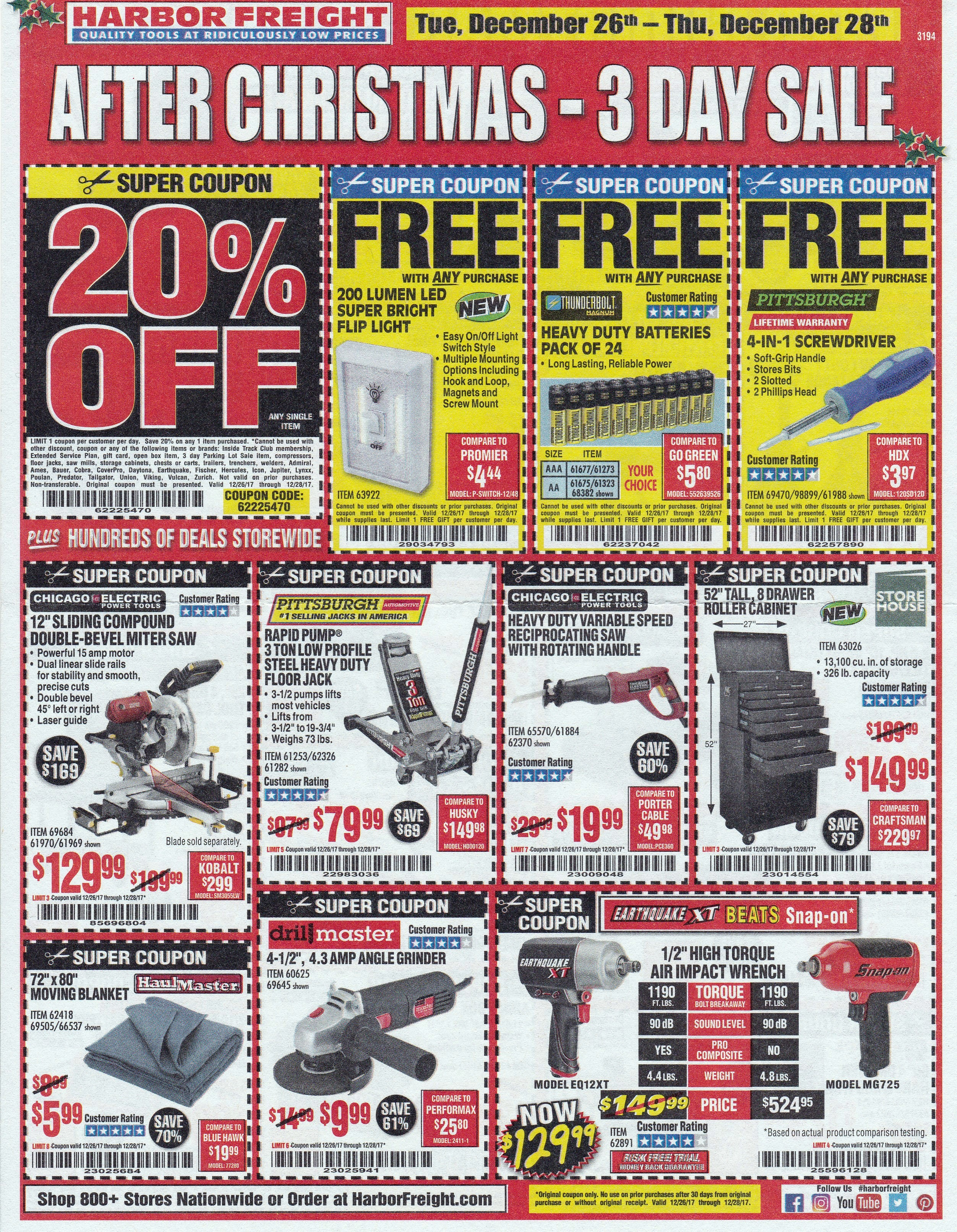 Harbor Freight Christmas Eve Hours.Harbor Freight 3 Day After Christmas Sale With A Never