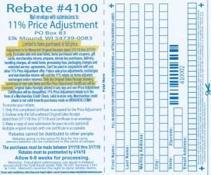 Menards 11% Price Adjustment Rebate #4100 – Purchases 3/11