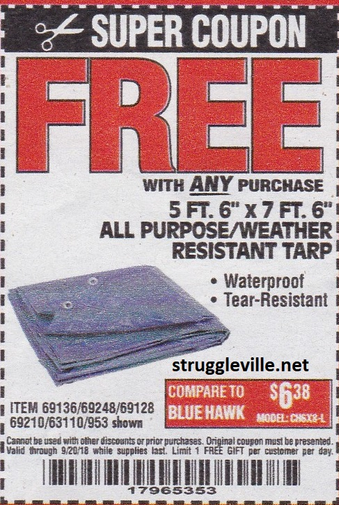 41ffaf67dd2816 5 Ft. 6″ x 7 Ft. 6″ All Purpose Weather Resistant Tarp – Expires 9 20 18 –  69136 69248 69128 69210 63110 953