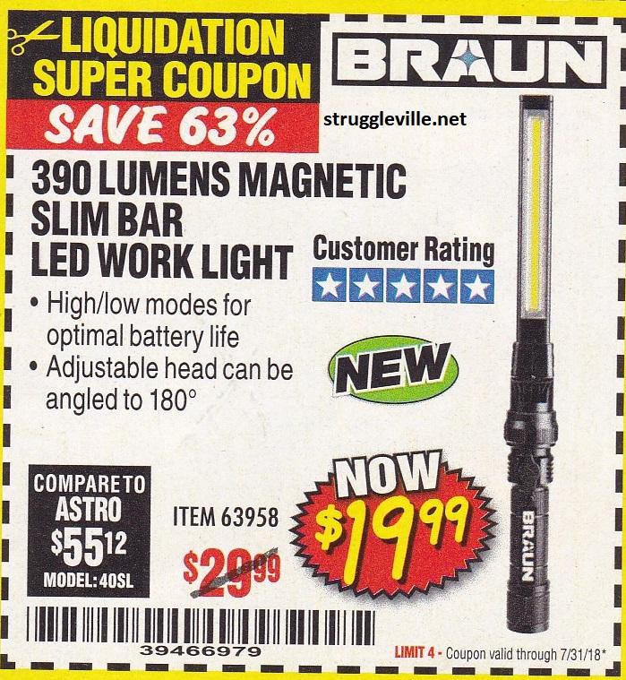 Braun 390 Lumens Magnetic Slim Bar LED Work Light