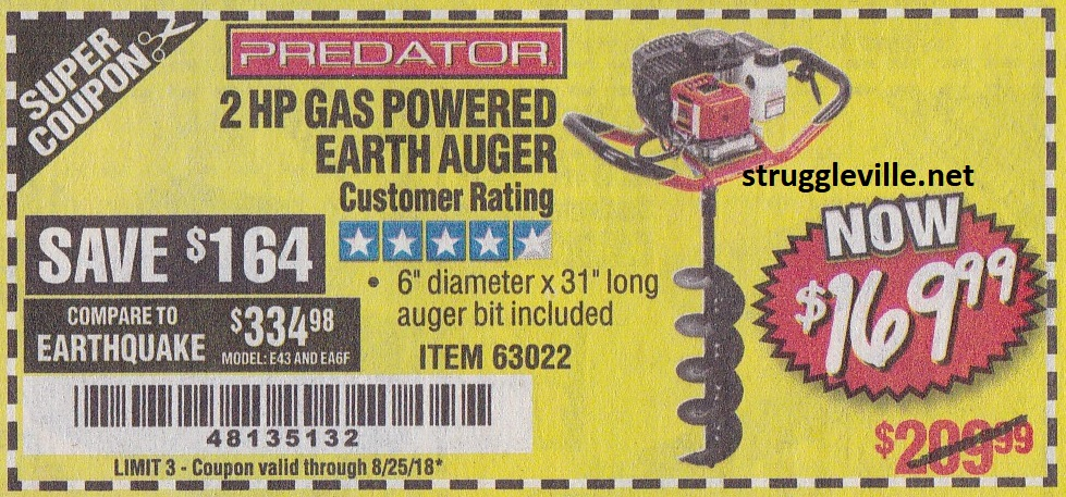2 Hp Gas Powered Earh Auger – Expires 8/25/18 – 63022