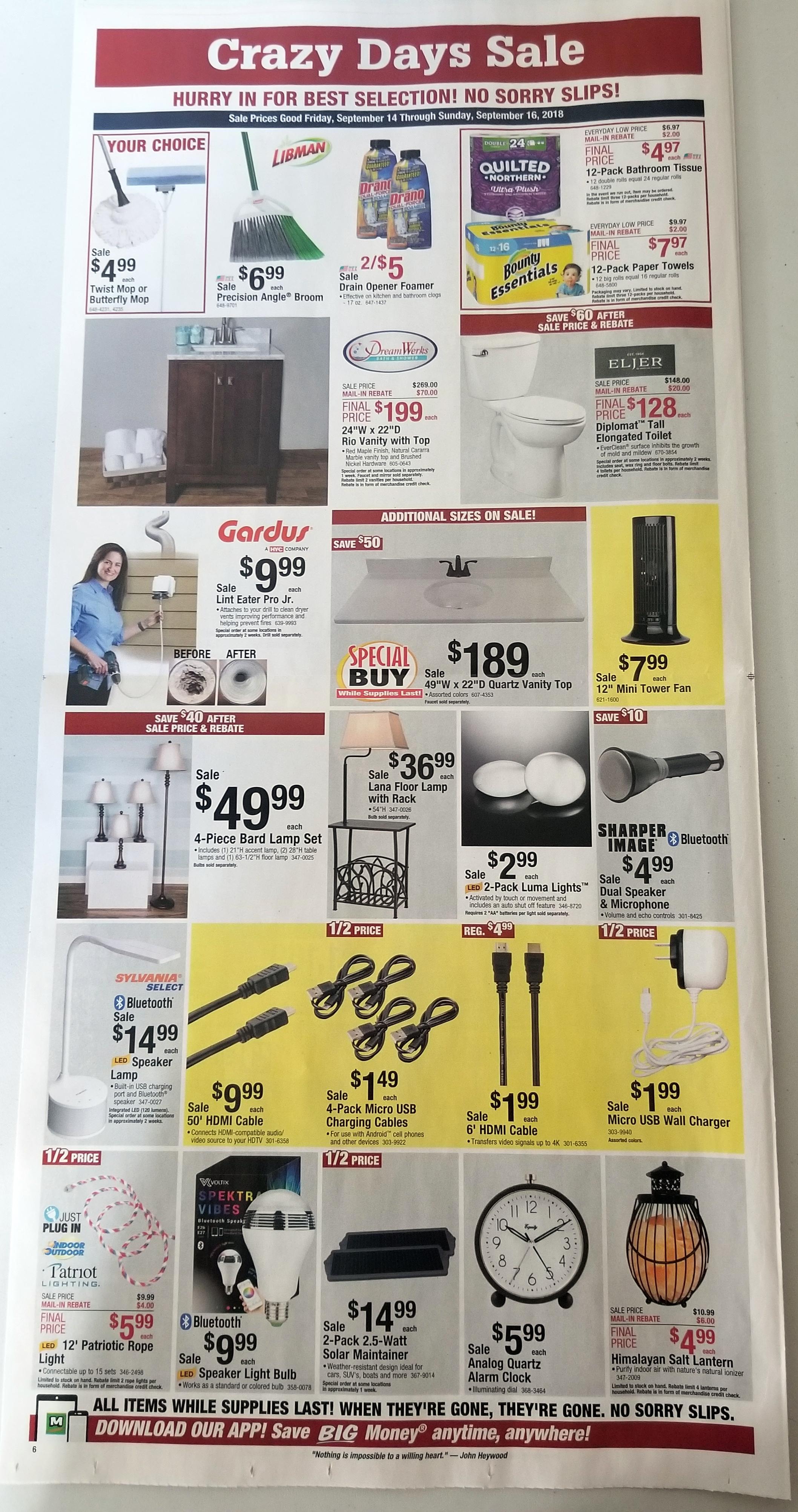 menards crazy days sale 9 14 18 9 16 18 struggleville. Black Bedroom Furniture Sets. Home Design Ideas