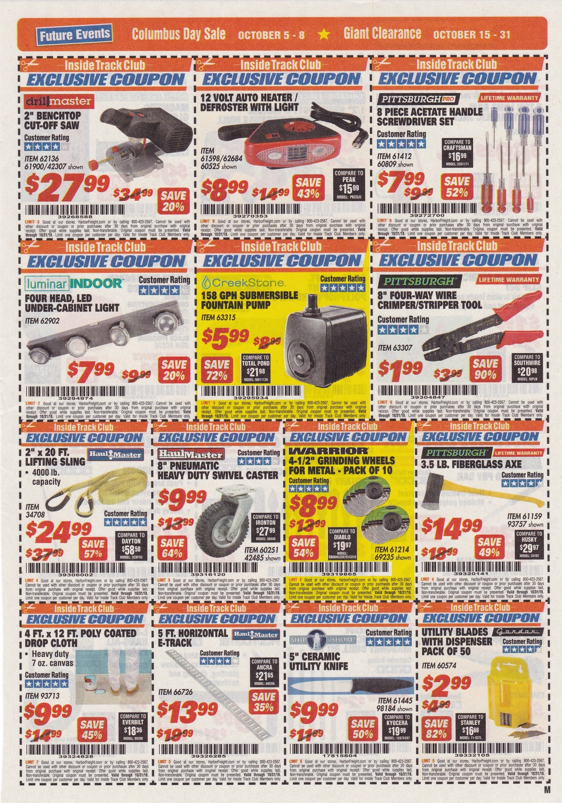 Harbor Freight Inside Track Club Coupons October 2018