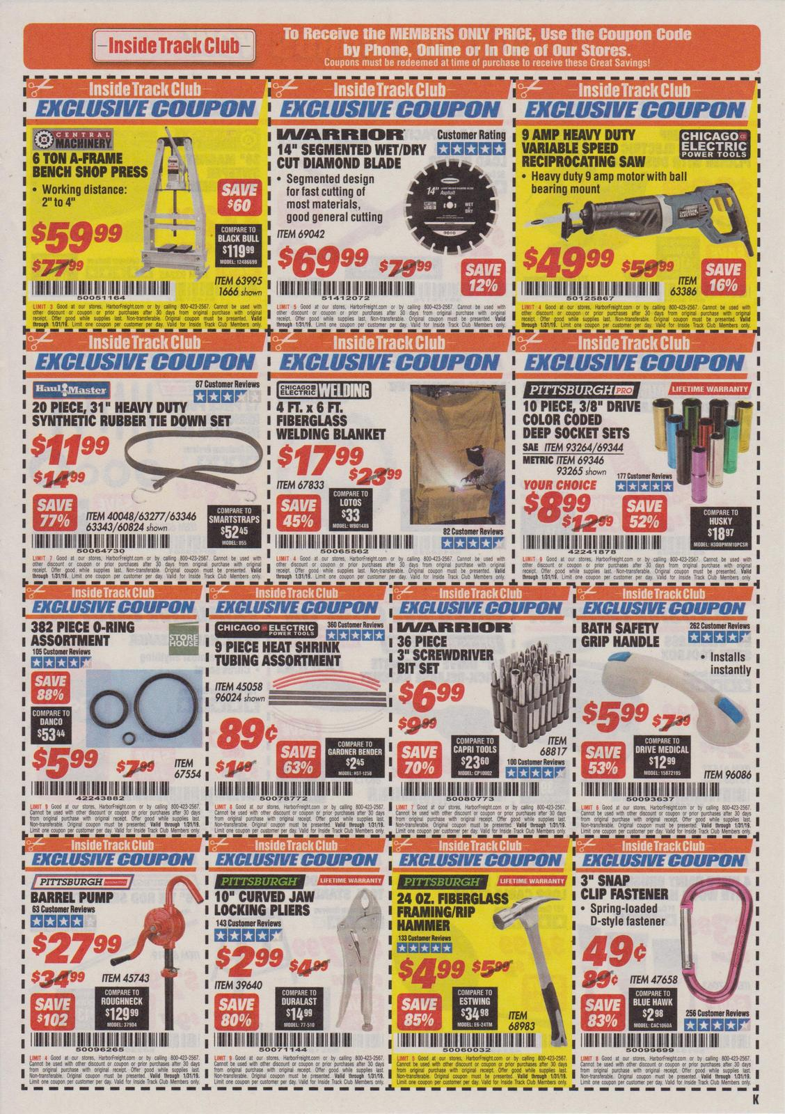 Harbor Freight Inside Track Club Coupons – January 2019