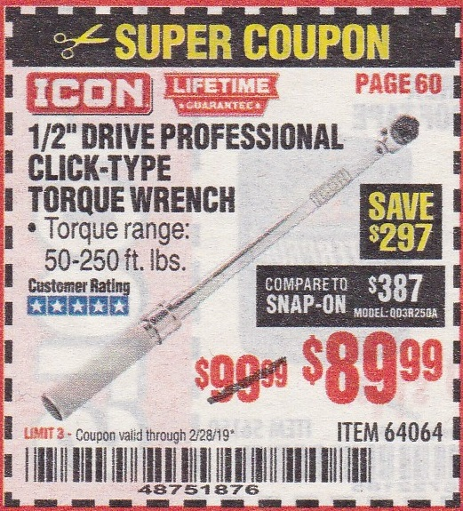 ICON 1/2″ DRIVER PROFESSIONAL CLICK TYPE TORQUE WRENCH