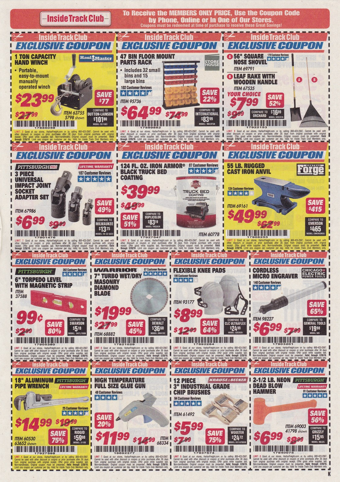 Fleet Farm Coupons >> Harbor Freight Inside Track Club Coupons – February 2019 ...