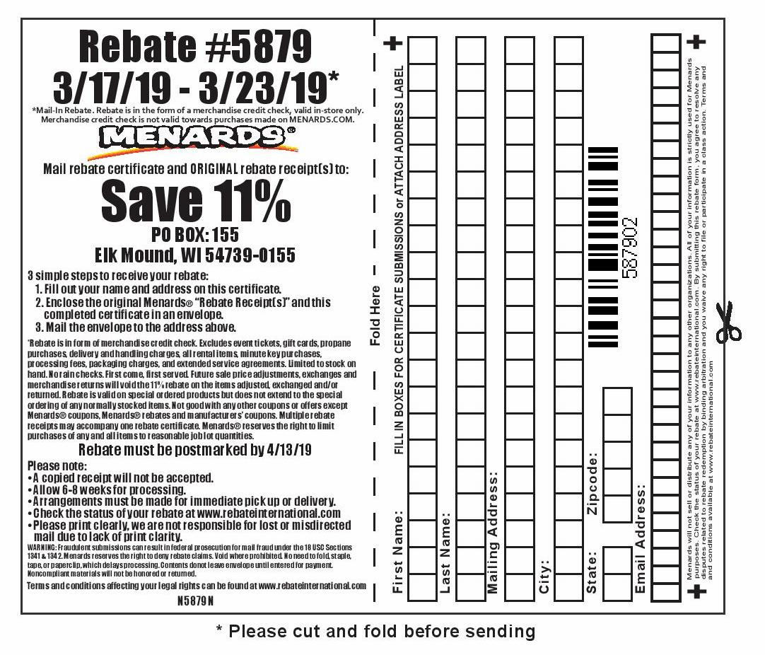 Menards 11% Rebate #5879 – Purchases 3/17/19 – 3/23/19 – Struggleville