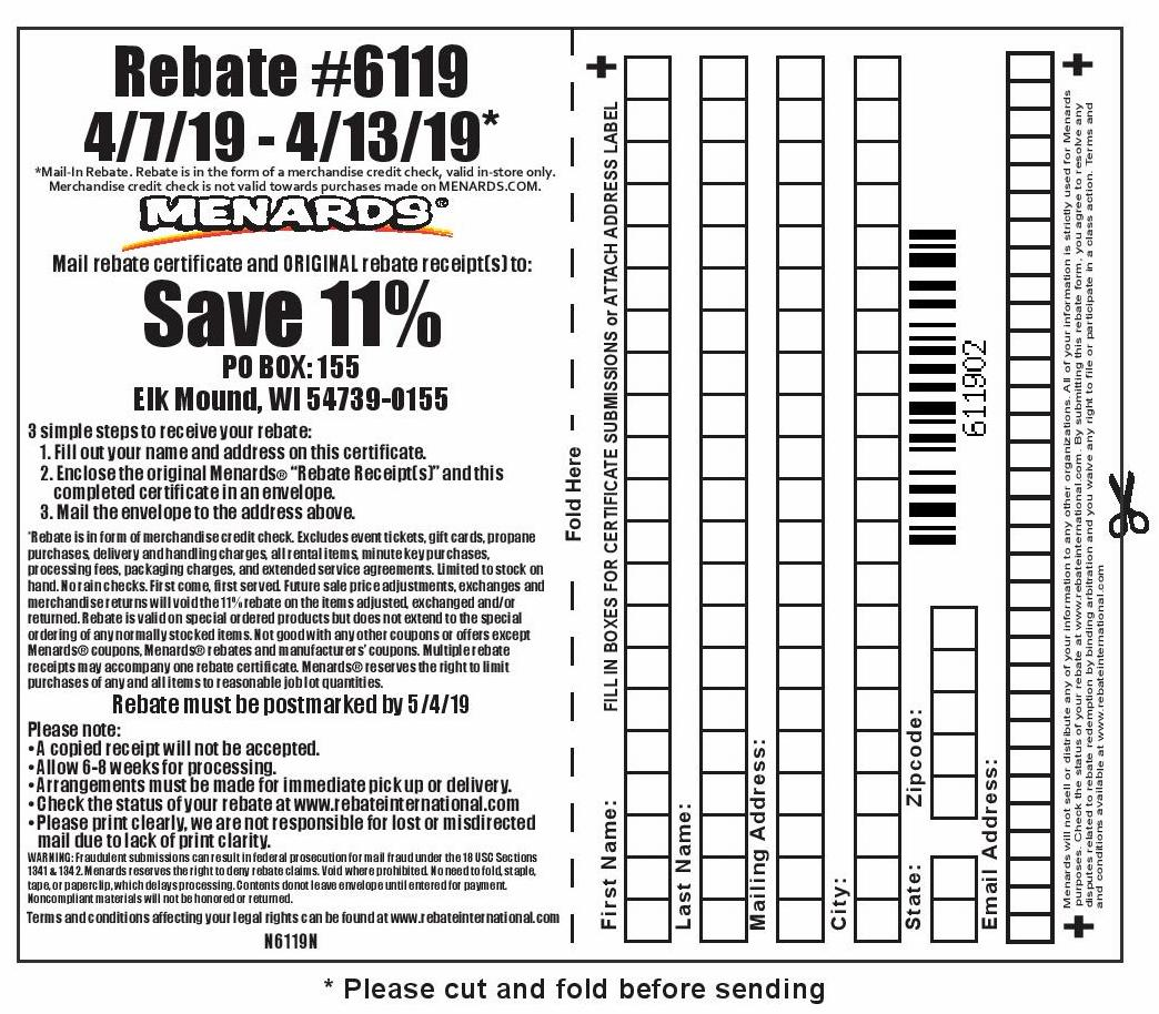 Menards 11% Rebate #6119 – Purchases 4/7/19 – 4/13/19 – Struggleville