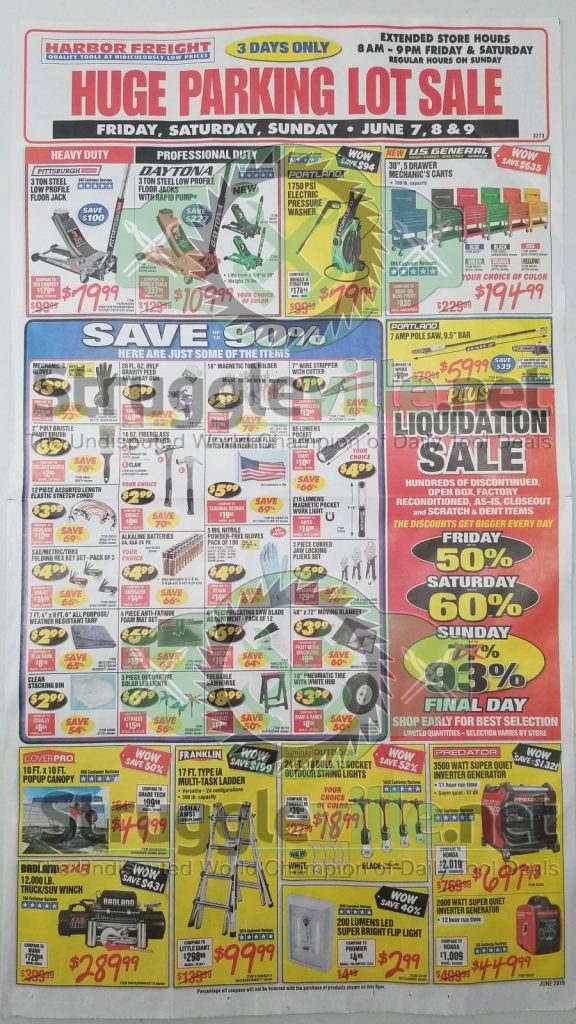 Harbor Freight June parking lot sale ad page 1