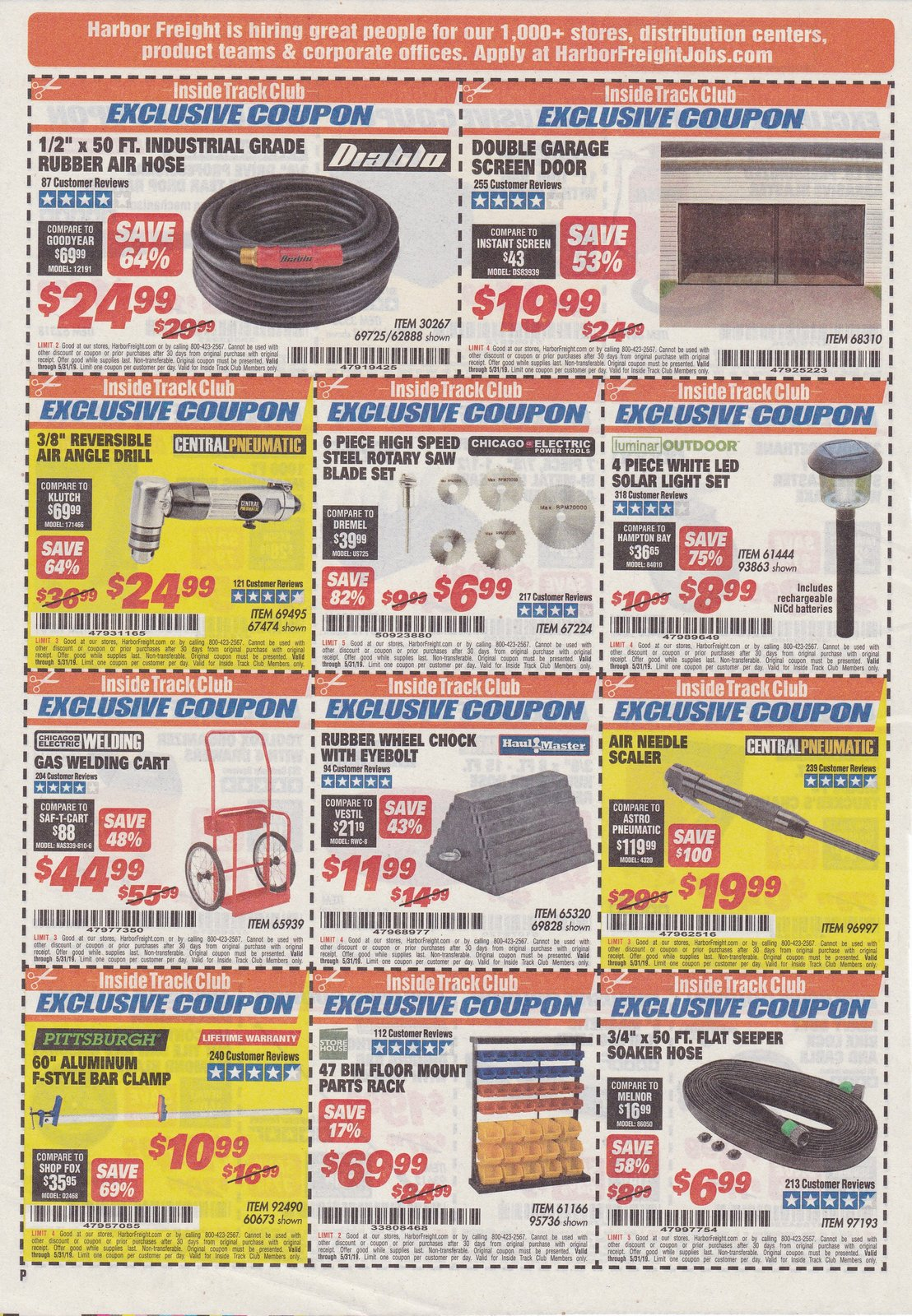 Harbor Freight Inside Track Club Coupons – May 2019