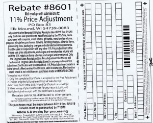 Menards 11% Price Adjustment Rebate