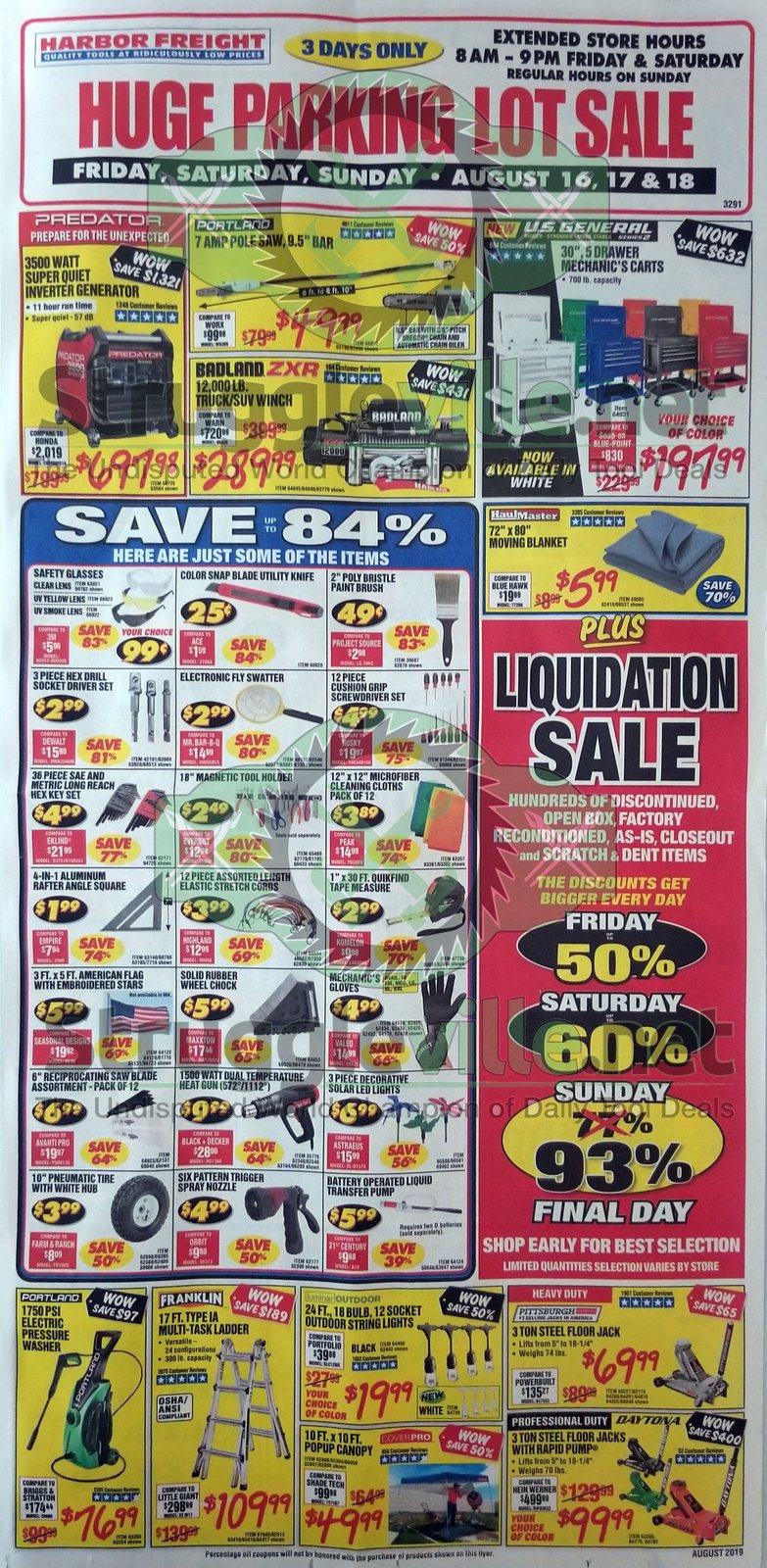 👉 Harbor Freight Parking Lot Sale Ad! (August 16th, 17th