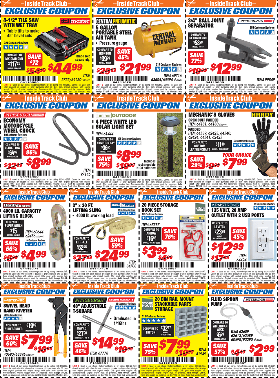 Harbor Freight Inside Track Club Coupons July 2019