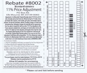Menards 11 Percent Price Adjustment Rebate Number 8002