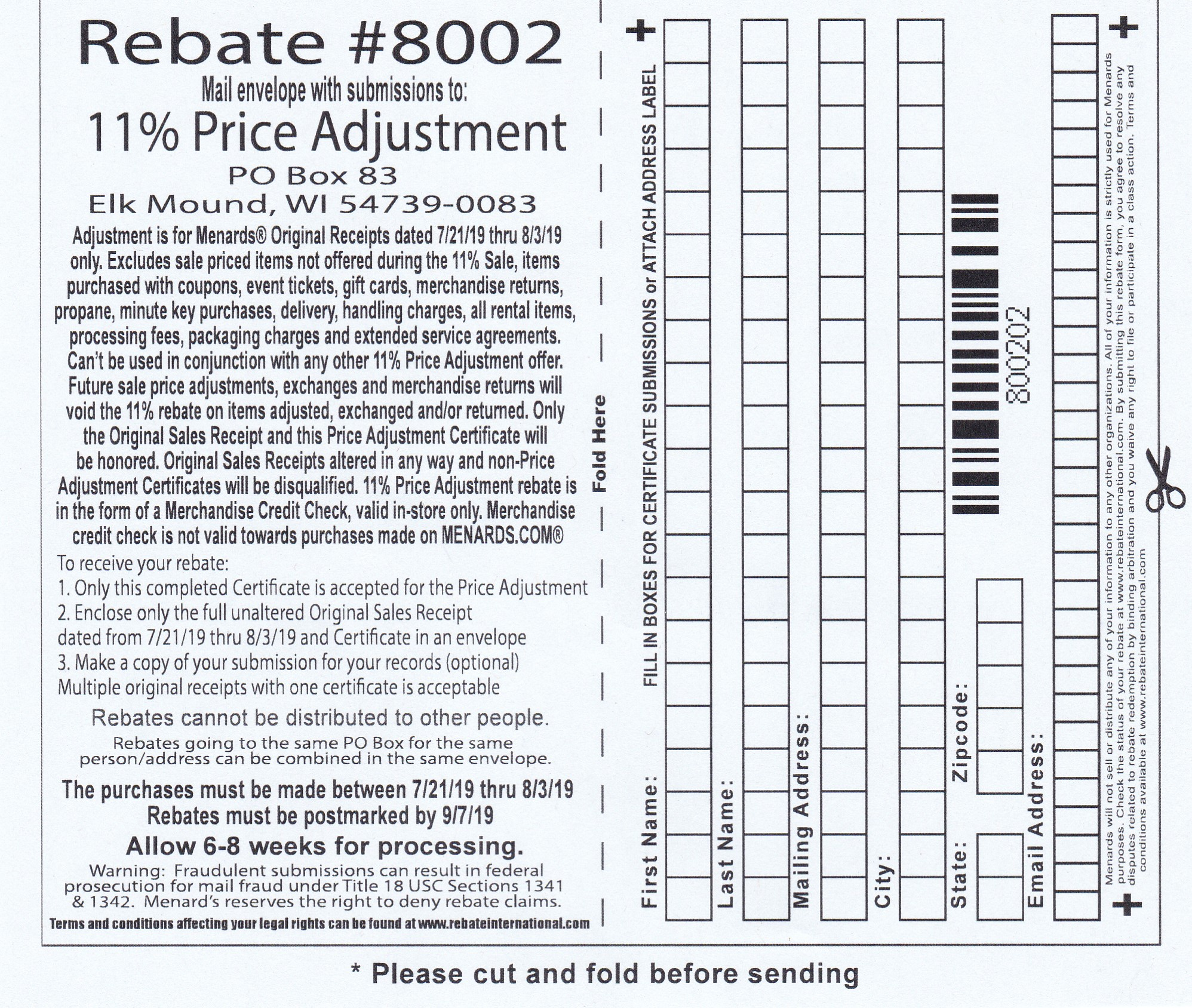 Menards 11% Price Adjustment Rebate #8002 – Purchases 7/21/19-8/3/19