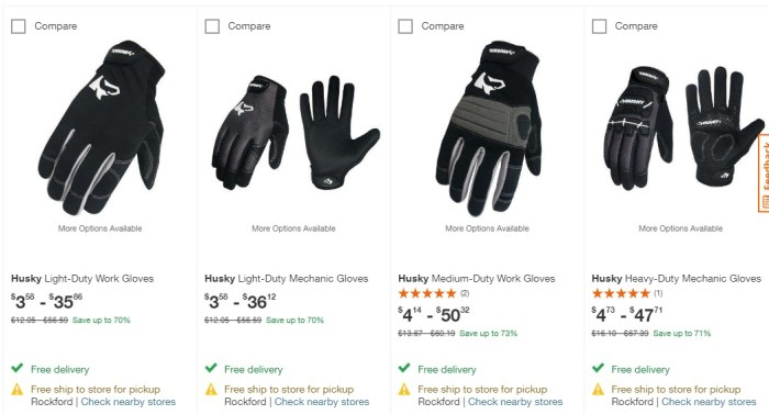 Home Depot Up To 73 Off Husky Work Gloves Struggleville