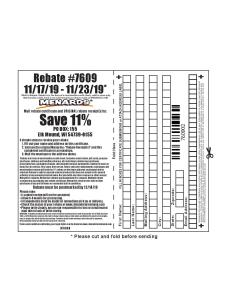Menards 11 Percent Rebate Number 7609