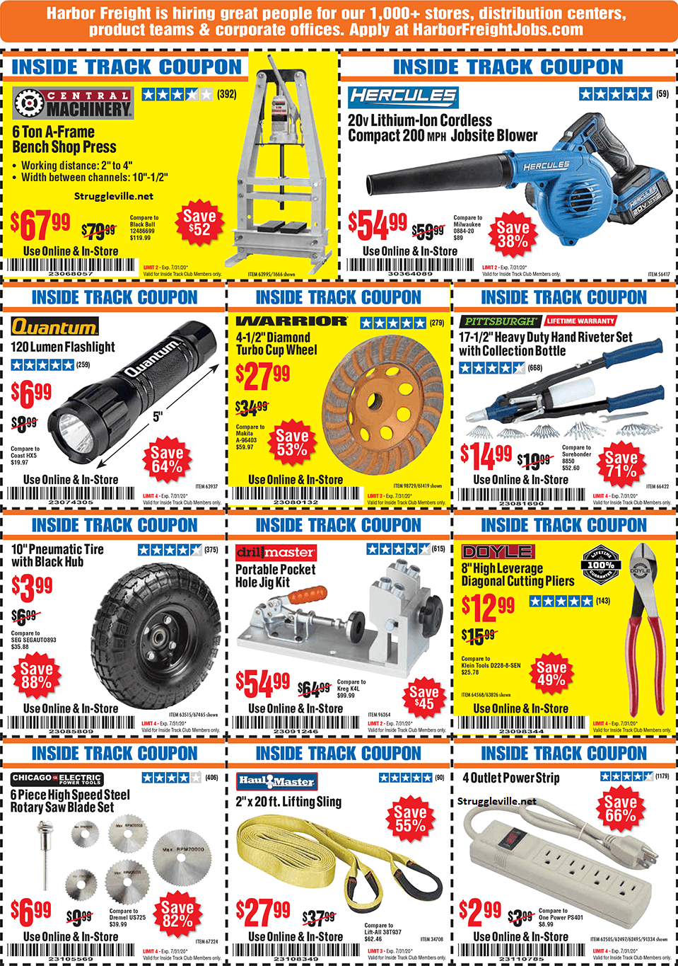 Harbor Freight Inside Track Club Coupons July 2020