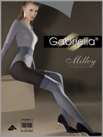 Gestreifte Strumpfhose im Overknee-Look Milley von Gabriella, graphitgrau-schwarz, Gr. S