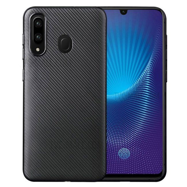 Carbon-Fiber-Texture-Soft-TPU-Back-Cover-for-Samsung-Galaxy-A20S---Black