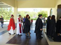 Archbishop John Wong and Fr Cosmas Lee followed in the march-in into the chapel.