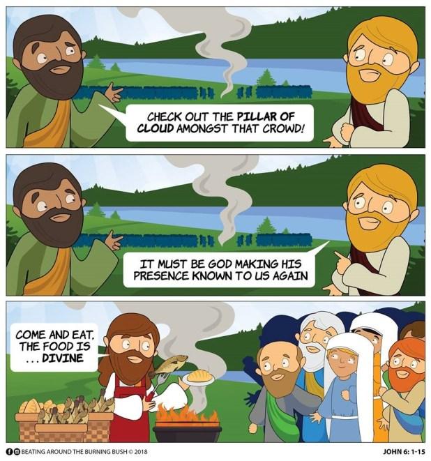 Cartoon Jesus and the 5000