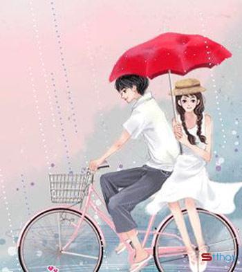 Status tâm trạng Yêu nhau tháng Bảy là khi đôi bạn trẻ hờn dỗi, lặng yên bên nhau dưới hiên nhà trốn cơn mưa bất chợt