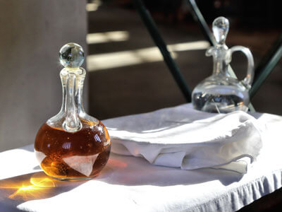 Wine, bread and Holy Water for communion