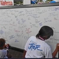 Kids write on memory board.